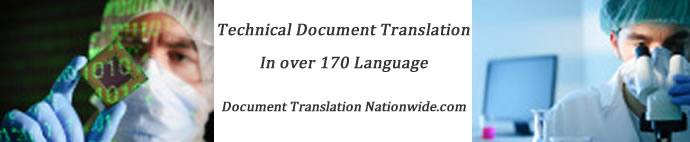 Technical Translation services in 170 languages by Certified Translators
